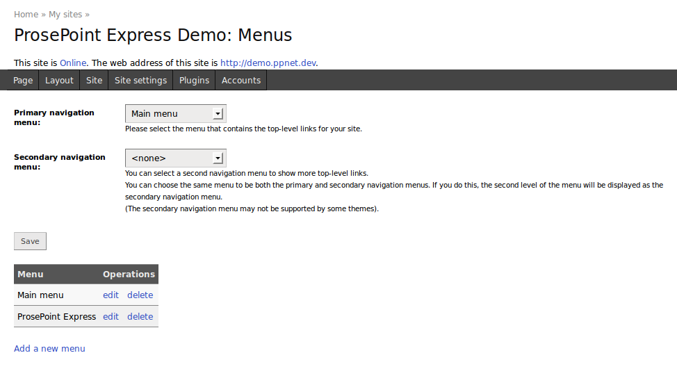 Example Menu settings page