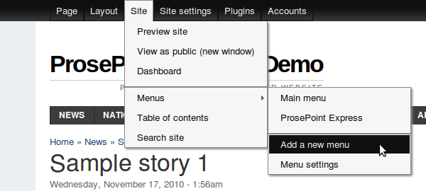 Site » Menus » Add a new menu