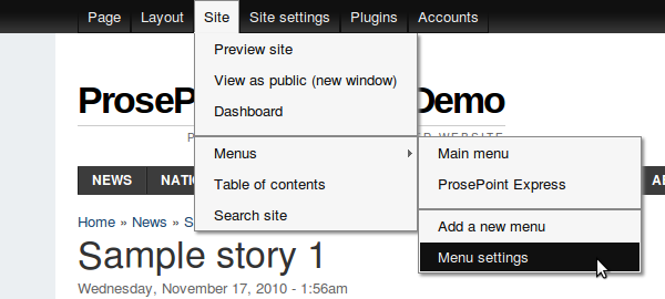Site » Menus » Menu settings
